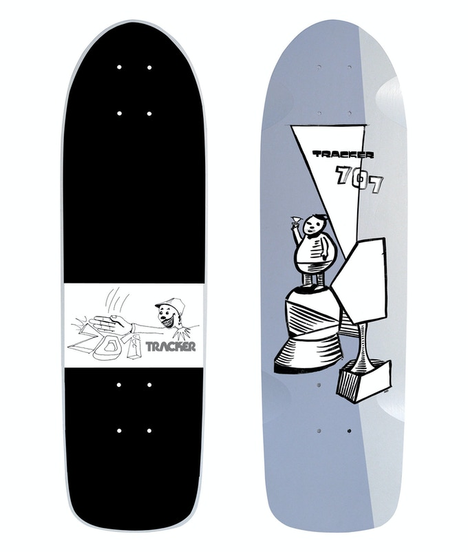 New old stock Tracker 707 deck from 1983 with new graphics drawn by Neil Blender in 2014 on the bottom and vintage 1983 graphics on top.