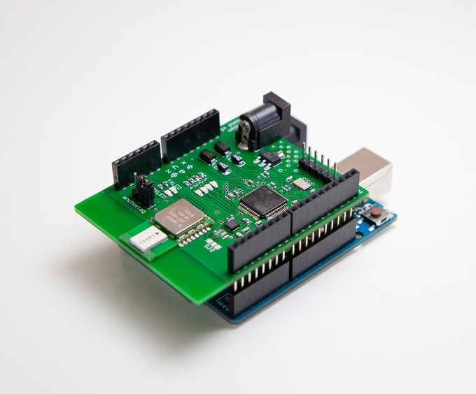 Image of the pozyx tag mounted on an Arduino Uno. (the final version that you will receive will include an usb connection and a pressure sensor not seen here)