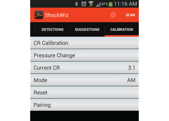 Calibration screen - calibrate to your bike and select your style