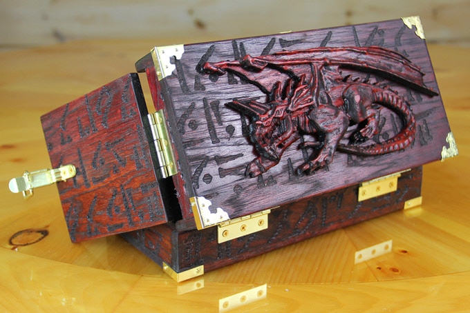 Dragon Case with Crouching Dragon wood sculpt