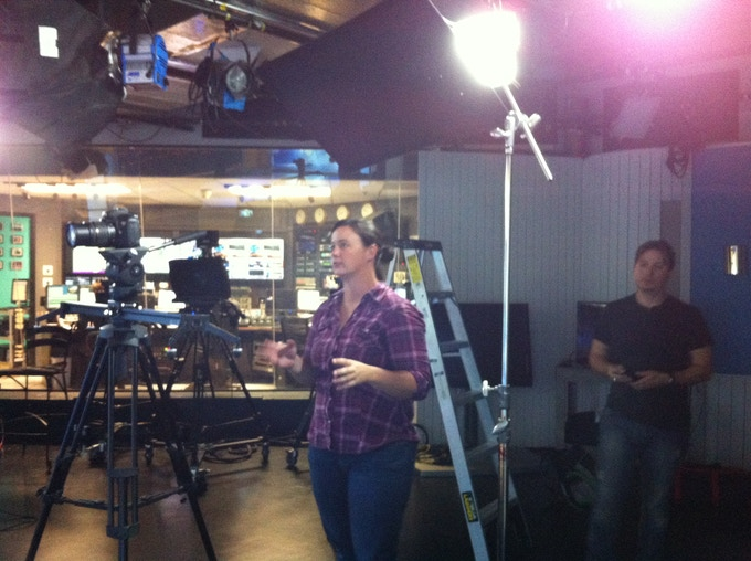Austin Smoak and Dan Ast on set at the CNN Tower in Hollywood filming the news reports that appear in season 1.