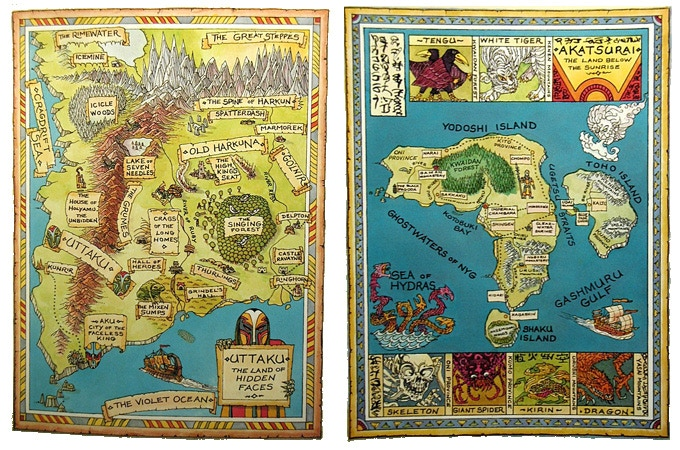 Sample Fabled Lands maps by Russ Nicholson, demonstrating the scope of the books