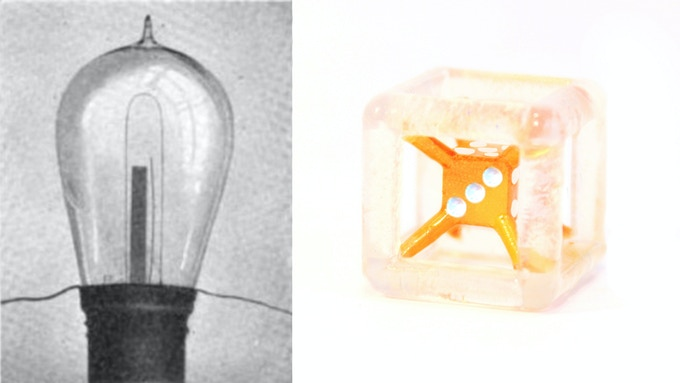 """Actual Edison Bulb / Edison Bulb Die (Semi - Translucent Resin Casting with """"Glowing Filament"""" Core)"""
