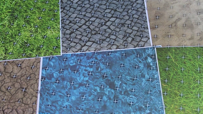 Various printed textures with Clear Map Grid overlay