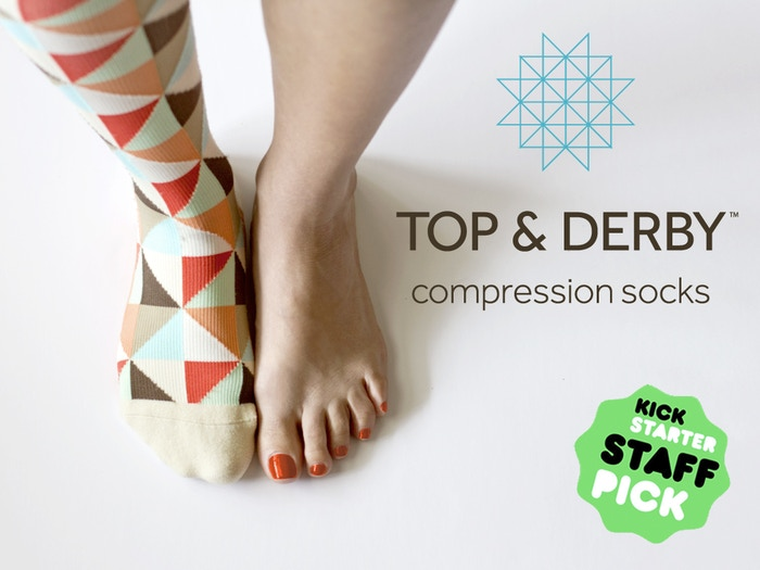 Modern compression socks that look great and will keep your legs feeling energized all day long.