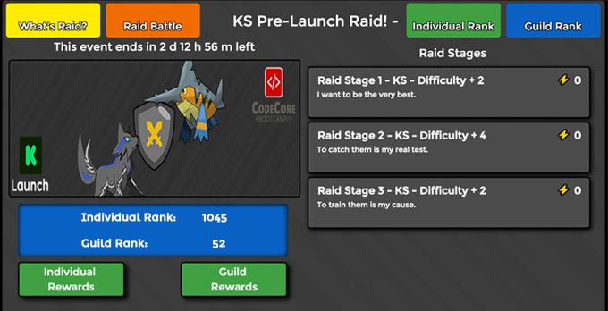 The raid level select screen
