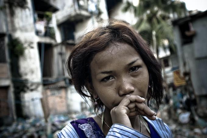 A young sex worker in a Phnom Penh slum, Cambodia.