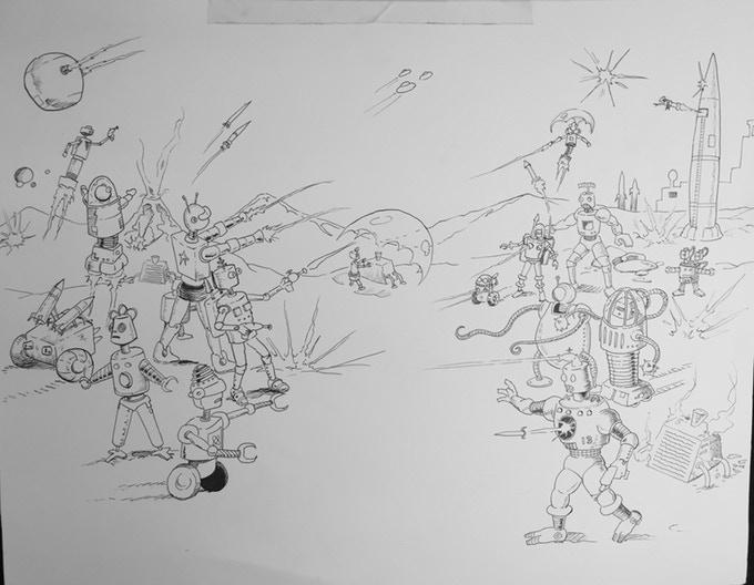 Original Pen & Ink Art for Box Cover