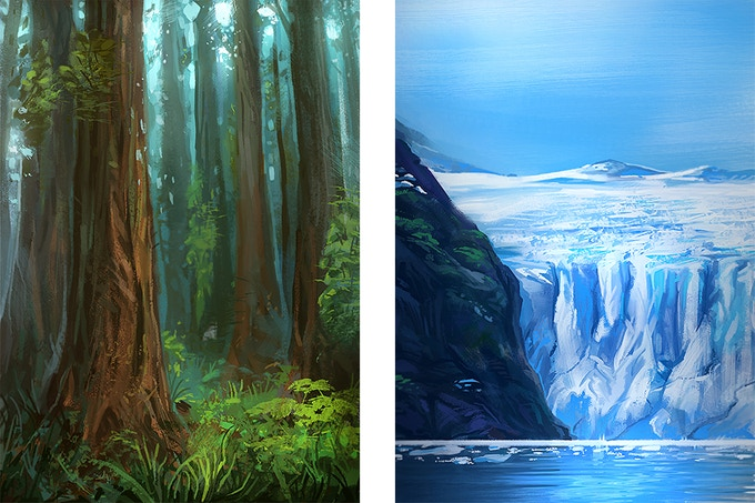 Examples of Terrain: Ancient Forest & Ancient Glacier