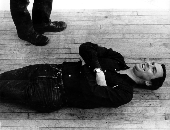 Wilson and Glass (those are Glass' feet) when they were collaborating on EOB. ca. 1975. © Betty Freeman.