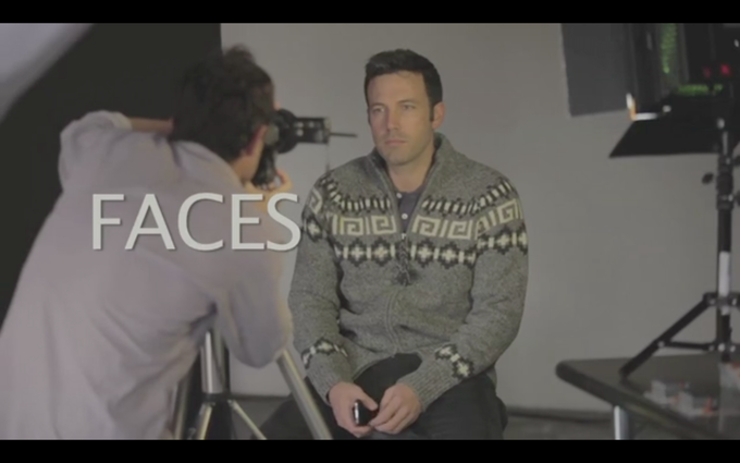 Ben Affleck posing for FACES before moving on to make his sketch using the software.
