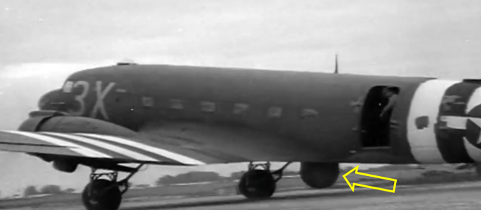 The airplane was fitted with a primitive form of airborne radar to guide the formation to an accurate drop. You can see the distinctive dome housing the SCR-717 radar underneath the belly.