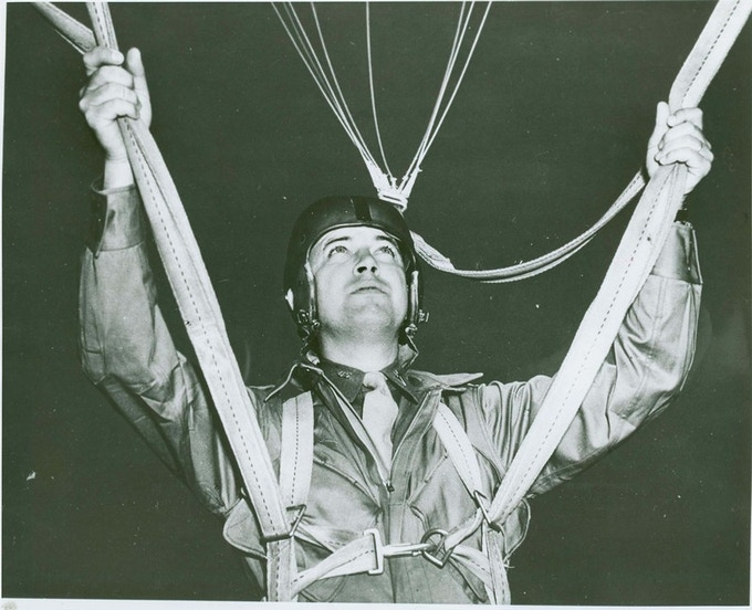 """Raymond S. """"Chappie"""" Hall, the first Chaplain to make a combat jump.  He was known to the men as """"Jumping Jesus!"""""""