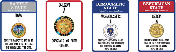 Four Different Kinds of State Cards (From left to right: Battle, Giveaway, Democratic Party, Republican Party)