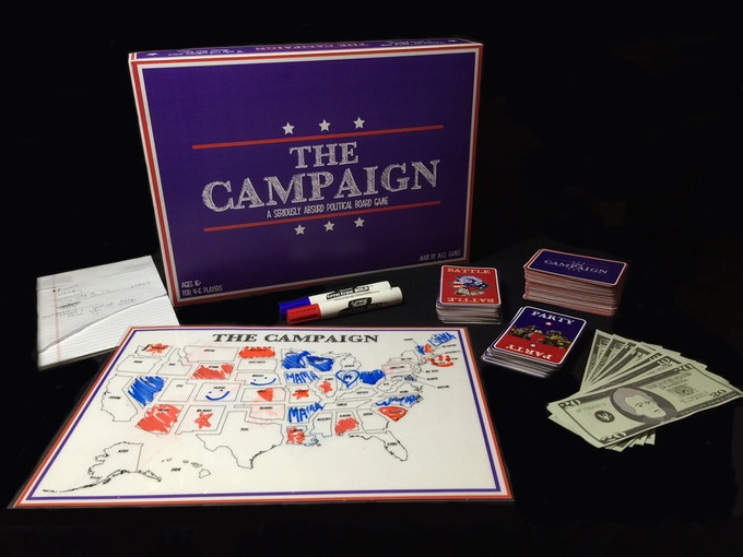 The Campaign, Battle, and Party Card Decks, Six Notepads, The Board, Two Wet-Erase Pens, a 30 second timer (not pictured), and Fake Money in 4 denominations.