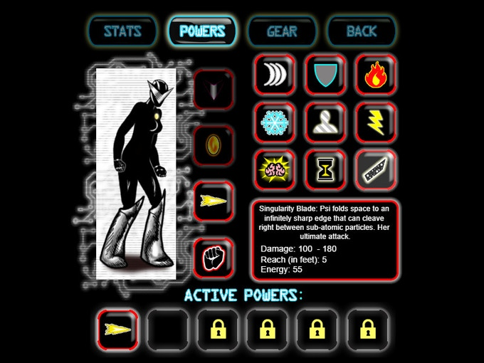This is the character screen where you monitor and upgrade Psi's stats, powers and gear.