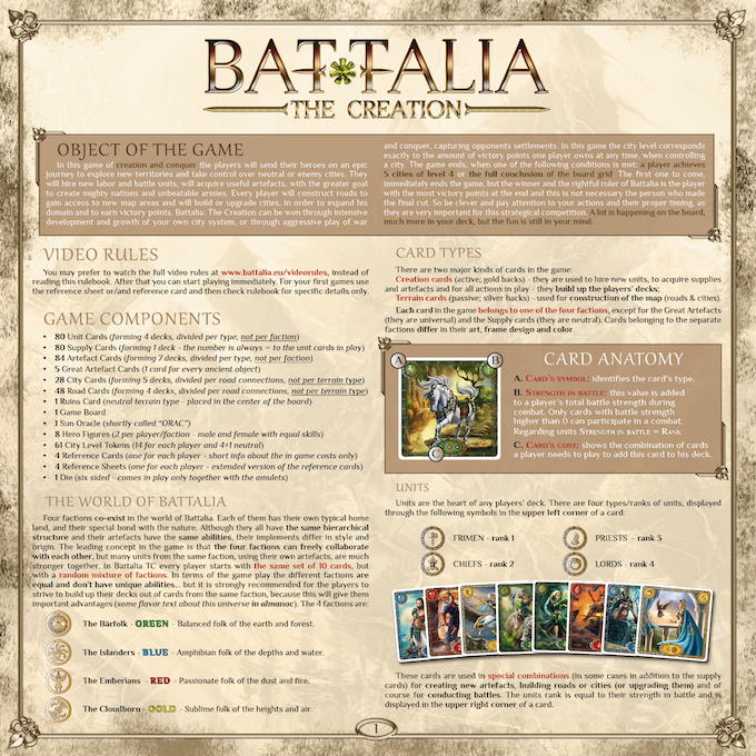BATTALIA : The Creation - PDF English rule book - not final, we are still editing spelling & wording!