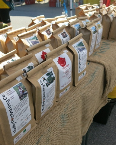 Selling coffee at the Western Wake Farmers Market