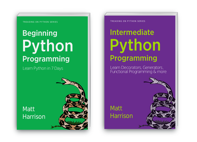 Treading on Python Volumes 1 and 2 cover basic Python, and more advanced concepts (generators, decorators, and comprehension constructs)