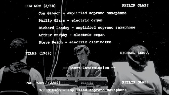 """""""The Philip Glass Ensemble (an early line-up featuring composer Steve Reich) performs at the Whitney Museum in 1969."""