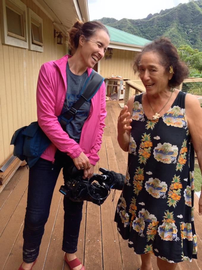 Filmmaker Gemma Cubero del Barrio with Johnny Frisbie in Hawai'i