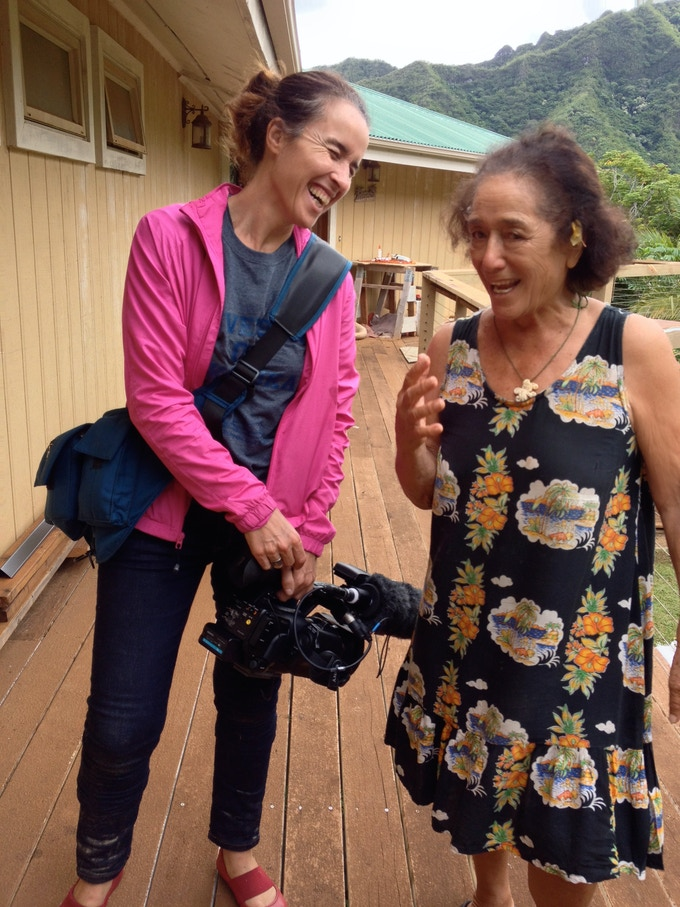 Filmmaker Gemma Cubero del Barrio with Johnny Frisbie in Hawai'i