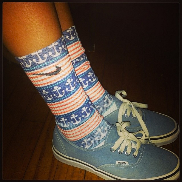 When we first were starting off, we would print on any socks we could find!