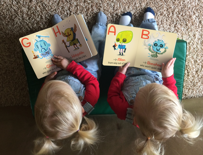 Fellow twins Quinn and Emerson learn their alphabets and their monsters at the same time.
