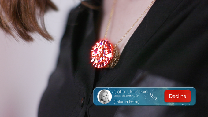 MetaWear powered necklace notifies you of different calls.