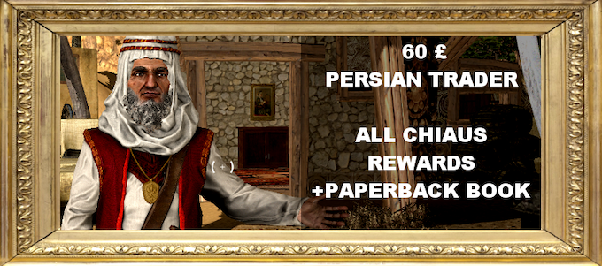 You bought precious goods from the Far East. One of these wares was a mysterious paperback book full of visual art. Plus get all the rewards from the Chiaus tier.