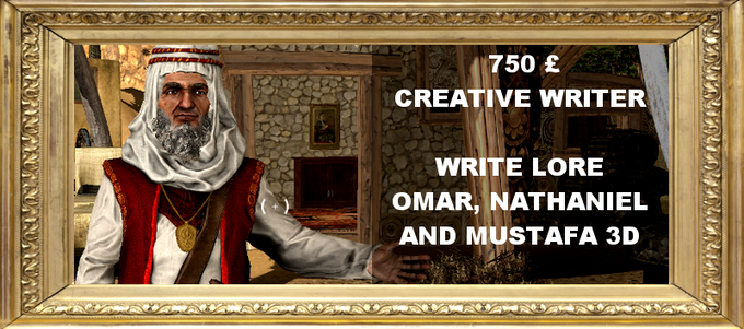 You get to write a snippet of the world lore of the world alongside our scriptwriter. In addition, you get not only Omar, but Mustafa and Chayim aswell! Includes Hero of the Clan reward.