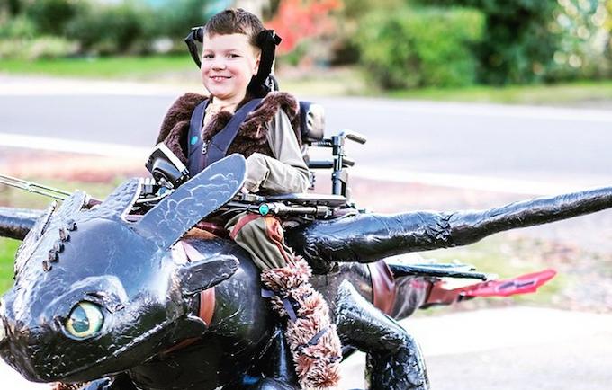 "Dragon rider Keaton Weimer astride his Magic Wheelchair aka ""Toothless"""