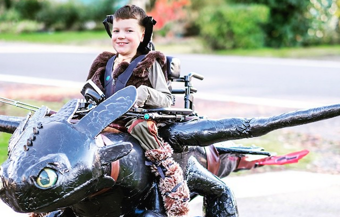 "Dragon rider Keaton Weimer astride his Magic Wheelchair aka ""Toothless"""