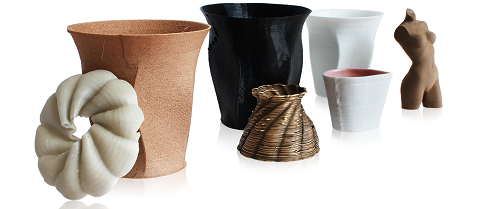Examples that are printed with the filament extruder: woodfill, biorubber, bronze, porcelain