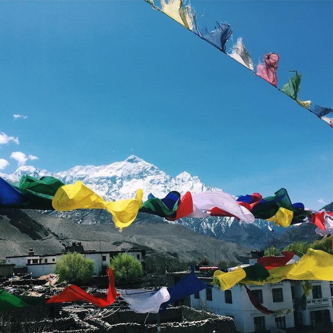 Prayer flags in Kagbeni, Nepal.