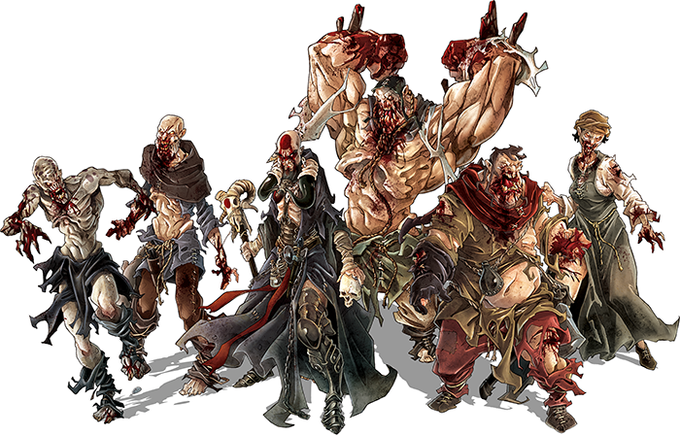 The Black Plague itself: Runner, Walker, Necromancer, Abomination, and Fatty