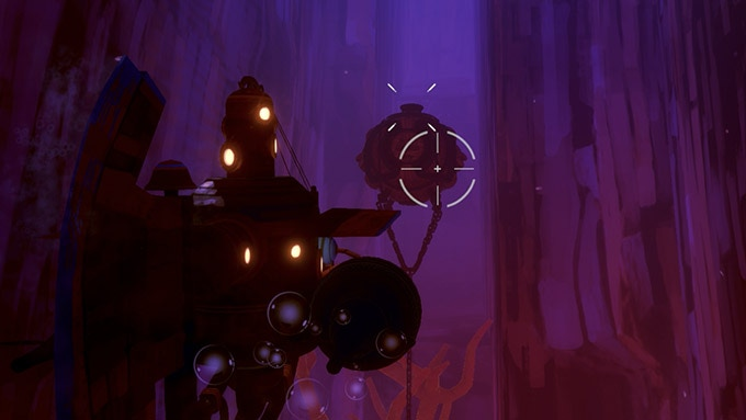 Exploration and combat in Diluvion take place in fully 3D open-world zones.