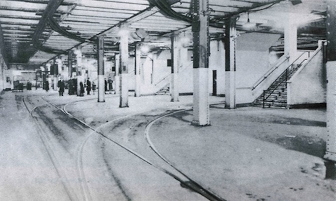 The original trolley terminal during trolley service in the 1930s.