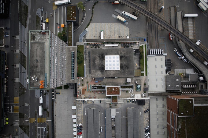 Bird's-eye view of the future museum building, hopefully.
