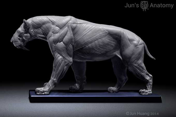 Smilodon in walking pose with Mouth-Closed Head.
