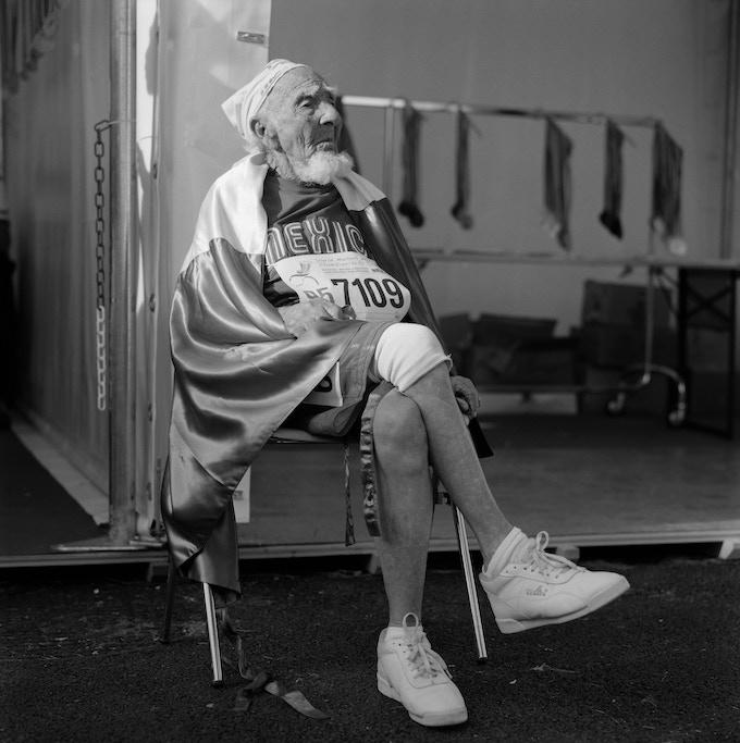 Mañuel, 95, the oldest 100 meter sprinter. Riccione, Italy. 2007.