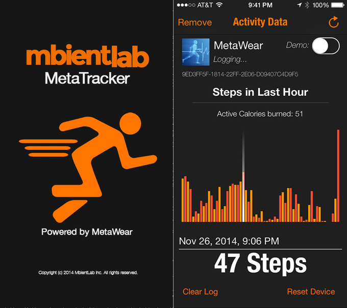Download our app to turn your MetaWear into an activity tracker!