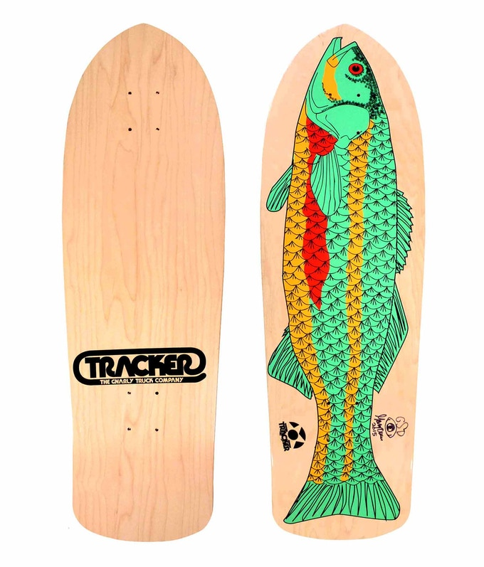 """New 2015 Tracker Fish skateboard deck with graphics """"borrowed"""" from GSD's final Tracker deck, circa 1989. Each deck is individually hand-signed by GSD. This is not a re-issue. Read more important info in the Rewards section."""