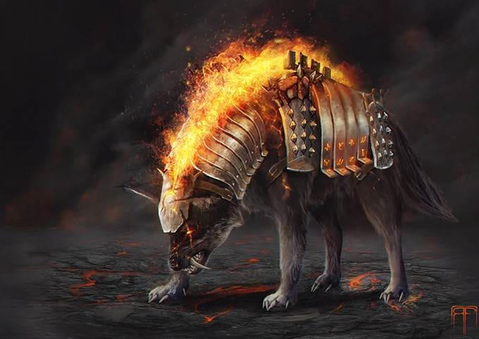 Fire Wolf Pet Skin - Kickstarter exclusive for those at BEAST TAMER TIER or higher!