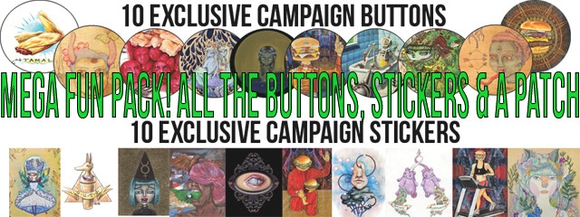 30 kickstarter mega fun pack all 10 exclusive to kickstarter push pull buttons and all 10 stickers push pull patch thank you card from the push pull