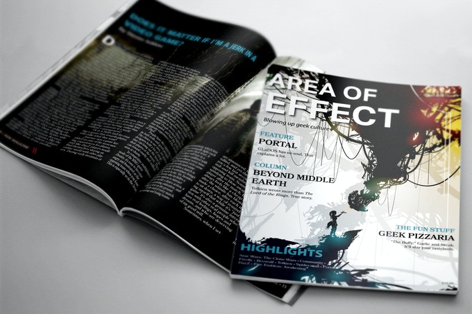 The first issue of Area of Effect was printed in April 2015. Issue #2 is ready to go for September. Now we're ready to start working on our December issue, and you can help!