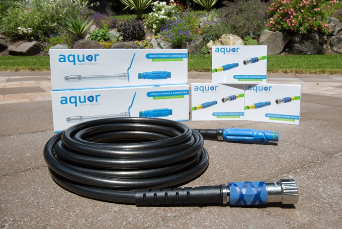 WaterRight Garden Hose in Graphite with Aquor Quick Connect Kit attached.