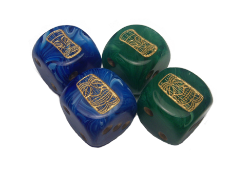 Blue & Gold and Green & Gold Dice