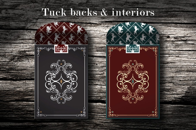Embossed, sealed and metal foiled tuck backs