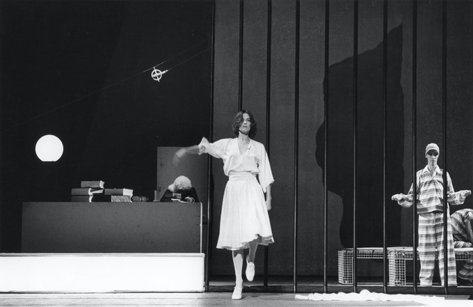 """Lucinda Childs performs in """"Trial/Prison"""", 1976 production of Einstein on the Beach. © Babette Mangolte"""